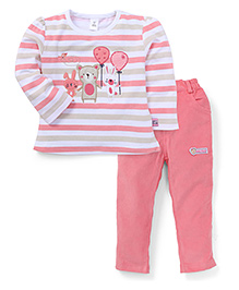 ToffyHouse Full Sleeves Stripe T-Shirt And Pants - Pink