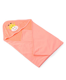 Babyhug Hooded Towel Embroidery - Peach