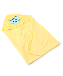 Babyhug Hooded Towel Cat Embroidery - Yellow