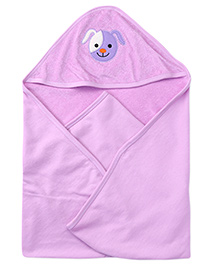 Babyhug Hooded Embroidery Towel - Purple