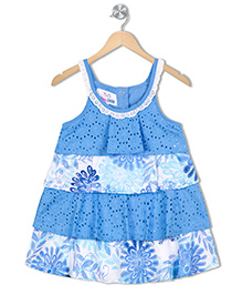 Young Birds Layered Floral Dress - Blue