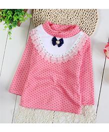 Tickles 4 U Full Sleeves Dot Print Top - Pink