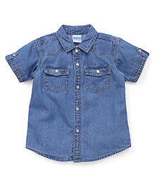 Babyhug Half Sleeves Denim Shirt With Flap Pockets - Light Blue