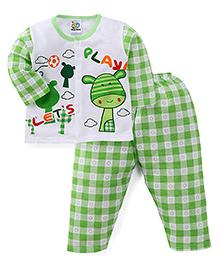 Adores Full Sleeves Night Wear Checks Print - Green