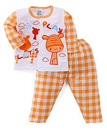 Adores Full Sleeves Night Wear Checks Print - Orange