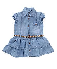 Adores Short Sleeves Denim Dress - Blue