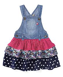 Adores Sleeveless Denim Dungaree Style Dress - Blue