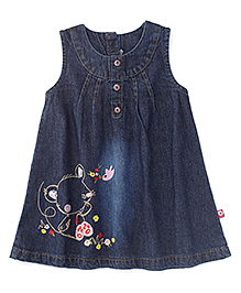 Adores Sleeveless Denim Dress With Embroidery - Blue