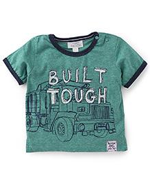 Pumpkin Patch Half Sleeves T-Shirt Built Tough Print - Green