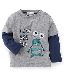 Pumpkin Patch Full Sleeves T-Shirt I Can See You Print - Grey