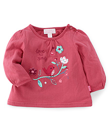 Pumpkin Patch Full Sleeves Top Love To Sing Embroidery - Pink