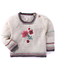 Pumpkin Patch Full Sleeves Pullover Sweater With Floral Design - White