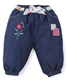 Pumpkin Patch Jeans Floral Embroidery- Blue