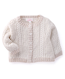 Pumpkin Patch Front Open Sweaters Full Sleeves Sweater - White