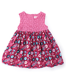 Pumpkin Patch Full Sleeves Frock Floral Print - Pink