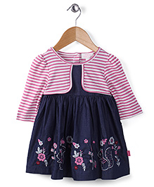Pumpkin Patch Full Sleeves Frock Floral Embroidery - Blue Pink