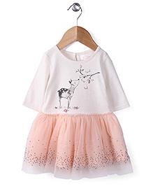 Pumpkin Patch Full Sleeves Frock Deer Print - White Peach