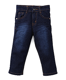 Babyhug Denim Full Length Jeans - Dark Blue