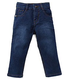 Babyhug Denim Full Length Jeans With Five Pockets - Blue