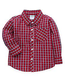 Babyhug Full Sleeves Checks Shirt - Red & White