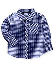 Babyhug Full Sleeves Checks Shirt - Navy & White