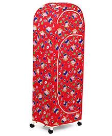 New Natraj Jumbo Toy Box With Wheels Bear Print - Red