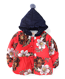 Adores Full Sleeves Hooded Jacket Floral Print - Red