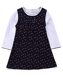 Babyhug Pinafore Style Frock With Full Sleeves Inner Top - Navy & White