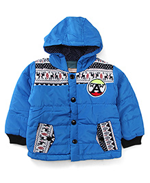 Adores Full Sleeves Hooded Jacket - Blue