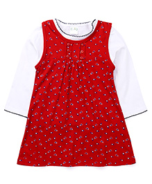 Babyhug Pinafore Style Frock With Full Sleeves Inner Top - Red White