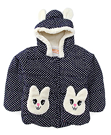 Adore Rabbit Print Winter Jackets - Blue