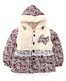 Adores Printed Hooded Jacket - Multicolor