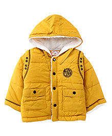 Adores Full Sleeves Hooded Jacket - Mustard Yellow