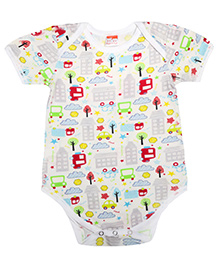 Hugsntugs Half Sleeves City Print Onesie - Multicolour