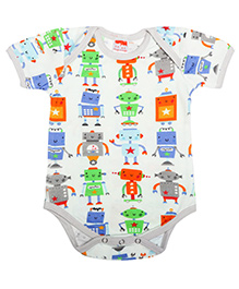 Hugsntugs Half Sleeves Robot Print Onesie - Multicolour
