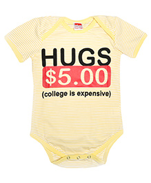 Hugsntugs Half Sleeves Hugs Print Onesie - Yellow