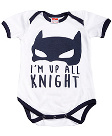 Hugsntugs Half Sleeves I'm Up Knight Print Onesie - White