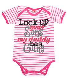 Hugsntugs Half Sleeves Striped And Caption Print Onesie - Pink