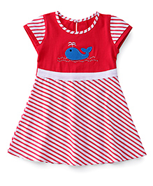 Babyhug Cap Sleeves Frock With Stripes Whale Patch - Fuchsia White