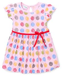 Babyhug Short Sleeves Frock Dots Print - Pink