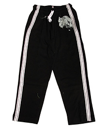 MTB Full Length Track Pants With Drawstring And Lion Print - Black
