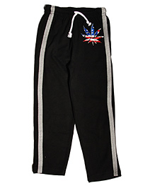 MTB Full Length Track Pants With Drawstring And Leaf Print - Black
