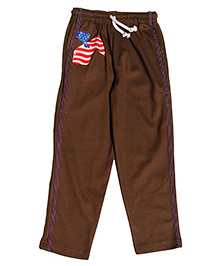 MTB Full Length Track Pants With Drawstring And Horse Print - Brown