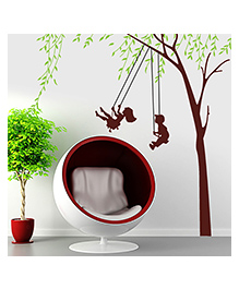Syga Kids And Tree Decals Design Wall Stickers - Multicolor