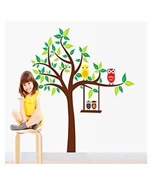 Syga Colorful Owls With Tree Decals Design Wall Stickers - Multicolor