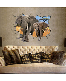 Syga 3D Broken Wall Elephants Decals Design Wall Stickers - Multicolour