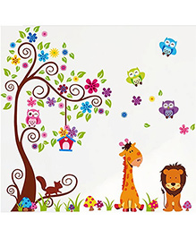 Syga Animal Tree Wall Sticker - Multicolor