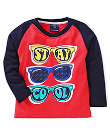 Taeko Full Sleeves T-Shirt Stay Cool Print - Navy And Coral