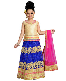 Aarika Zari Embroidered Top Lehenga & Dupatta - Blue Gold & Pink