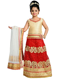 Aarika Zari Embroidered Top Lehenga & Dupatta - Red Gold & White